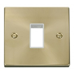 Click Deco Victorian Satin Brass 1 Gang Plate Single Aperture with White Insert