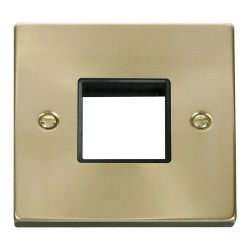 Click Deco Victorian Satin Brass 1 Gang Plate Twin Aperture with Black Insert