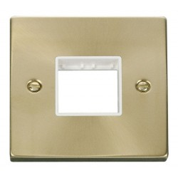 Click Deco Victorian Satin Brass 1 Gang Plate Twin Aperture with White Insert