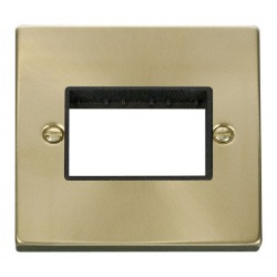 Click Deco Victorian Satin Brass 1 Gang Plate Triple Aperture with Black Insert