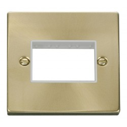 Click Deco Victorian Satin Brass 1 Gang Plate Triple Aperture with White Insert