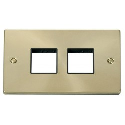 Click Deco Victorian Satin Brass 2 Gang Plate (2 x 2) Aperture with Black Insert