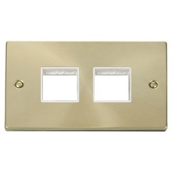 Click Deco Victorian Satin Brass 2 Gang Plate (2 x 2) Aperture with White Insert