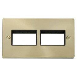 Click Deco Victorian Satin Brass 2 Gang Plate (3 x 3) Aperture with Black Insert