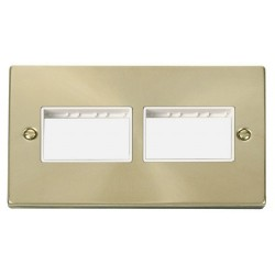Click Deco Victorian Satin Brass 2 Gang Plate (3 x 3) Aperture with White Insert