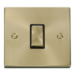 Click Deco Victorian Satin Brass 1 Gang 2 Way Ingot 10AX Switch with Black Insert