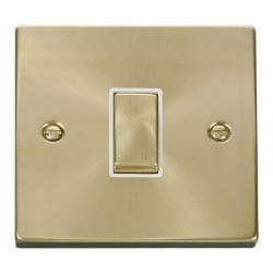 Click Deco Victorian Satin Brass 1 Gang 2 Way Ingot 10AX Switch with White Insert