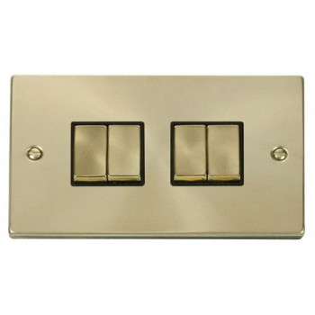 Click Deco Victorian Satin Brass 4 Gang 2 Way Ingot 10AX Switch with Black Insert