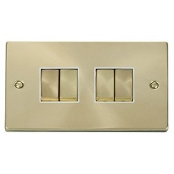 Click Deco Victorian Satin Brass 4 Gang 2 Way Ingot 10AX Switch with White Insert