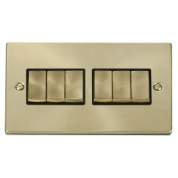 Click Deco Victorian Satin Brass 6 Gang 2 Way Ingot 10AX Switch with Black Insert