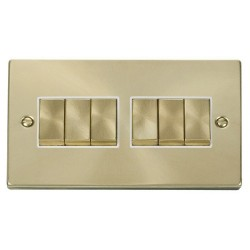 Click Deco Victorian Satin Brass 6 Gang 2 Way Ingot 10AX Switch with White Insert