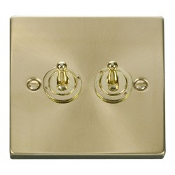 Click Deco Victorian Satin Brass 2 Gang 2 Way 10AX Toggle Switch