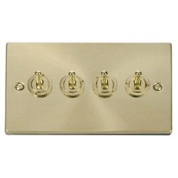 Click Deco Victorian Satin Brass 4 Gang 2 Way 10AX Toggle Switch