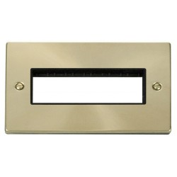 Click Deco Victorian Satin Brass 2 Gang Plate 6 In-Line Aperture with Black Insert