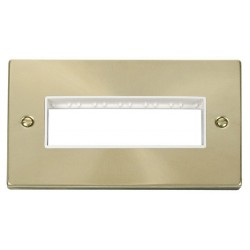 Click Deco Victorian Satin Brass 2 Gang Plate 6 In-Line Aperture with White Insert