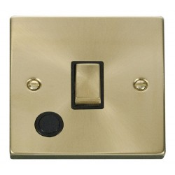 Click Deco Victorian Satin Brass 20A 1 Gang Double Pole Ingot Switch With Flex Outlet with Black Insert