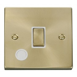 Click Deco Victorian Satin Brass 20A 1 Gang Double Pole Ingot Switch With Flex Outlet with White Insert
