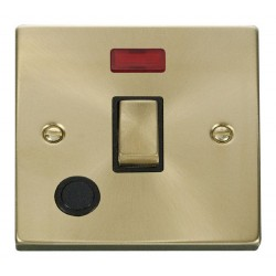 Click Deco Victorian Satin Brass 20A 1 Gang Double Pole Ingot Switch With Flex Outlet And Neon with Black Insert