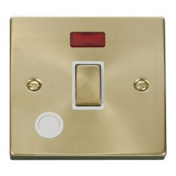 Click Deco Victorian Satin Brass 20A 1 Gang Double Pole Ingot Switch With Flex Outlet And Neon with White Insert