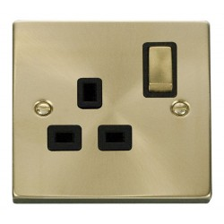 Click Deco Victorian Satin Brass 1 Gang 13A Double Pole Ingot Switched Socket Outlet with Black Insert
