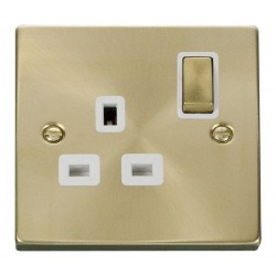 Click Deco Victorian Satin Brass 1 Gang 13A Double Pole Ingot Switched Socket Outlet with White Insert