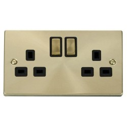 Click Deco Victorian Satin Brass 2 Gang 13A Double Pole Ingot Switched Socket Outlet with Black Insert