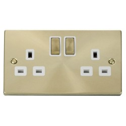 Click Deco Victorian Satin Brass 2 Gang 13A Double Pole Ingot Switched Socket Outlet with White Insert