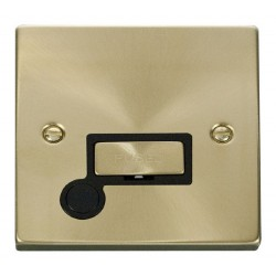Click Deco Victorian Satin Brass 13A Fused Ingot Connection Unit With Flex Outlet with Black Insert