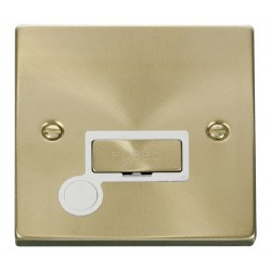 Click Deco Victorian Satin Brass 13A Fused Ingot Connection Unit With Flex Outlet with White Insert