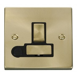 Click Deco Victorian Satin Brass 13A Fused Ingot Switched Connection Unit With Flex Outlet with Black Insert