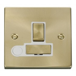 Click Deco Victorian Satin Brass 13A Fused Ingot Switched Connection Unit With Flex Outlet with White Insert