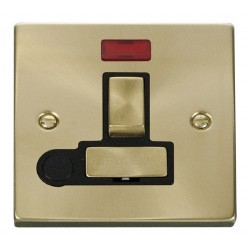 Click Deco Victorian Satin Brass 13A Fused Ingot Switched Connection Unit With Flex Outlet with Neon with Black Insert
