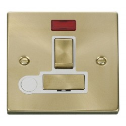 Click Deco Victorian Satin Brass 13A Fused Ingot Switched Connection Unit With Flex Outlet with Neon with White Insert