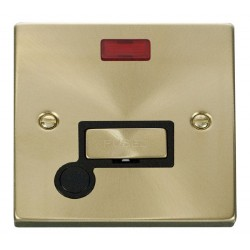 Click Deco Victorian Satin Brass 13A Fused Ingot Connection Unit With Flex Outlet with Neon with Black Insert