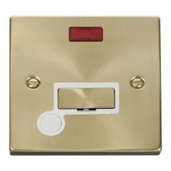 Click Deco Victorian Satin Brass 13A Fused Ingot Connection Unit With Flex Outlet with Neon with White Insert