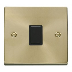 Click Deco Victorian Satin Brass 20A 1 Gang Double Pole Switch with Black Insert