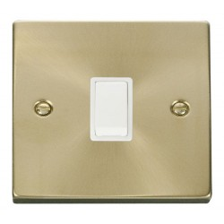 Click Deco Victorian Satin Brass 20A 1 Gang Double Pole Switch with White Insert