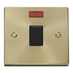Click Deco Victorian Satin Brass 20A 1 Gang Double Pole Switch with Neon with Black Insert
