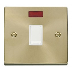 Click Deco Victorian Satin Brass 20A 1 Gang Double Pole Switch with Neon with White Insert