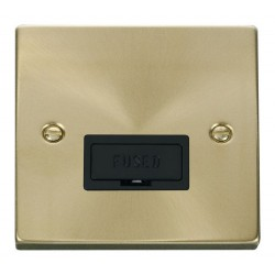 Click Deco Victorian Satin Brass 13A Fused Connection Unit with Black Insert
