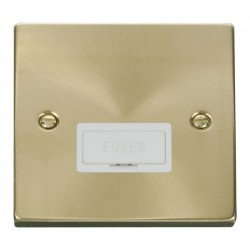 Click Deco Victorian Satin Brass 13A Fused Connection Unit with White Insert