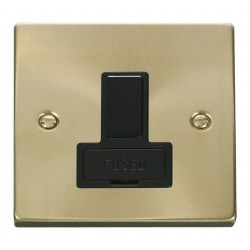 Click Deco Victorian Satin Brass 13A Fused Switched Connection Unit with Black Insert