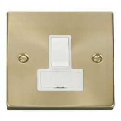 Click Deco Victorian Satin Brass 13A Fused Switched Connection Unit with White Insert
