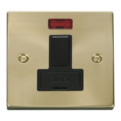 Click Deco Victorian Satin Brass 13A Fused Switched Connection Unit With Neon with Black Insert