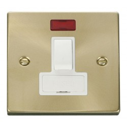 Click Deco Victorian Satin Brass 13A Fused Switched Connection Unit With Neon with White Insert
