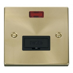 Click Deco Victorian Satin Brass 13A Fused Connection Unit With Neon with Black Insert
