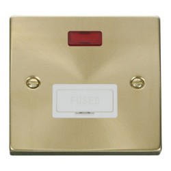 Click Deco Victorian Satin Brass 13A Fused Connection Unit With Neon with White Insert