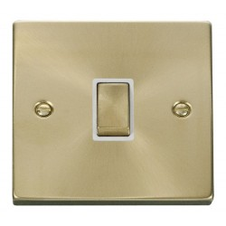 Click Deco Victorian Satin Brass 20A 1 Gang Double Pole Ingot Switch with White Insert