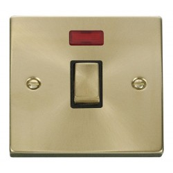 Click Deco Victorian Satin Brass 20A 1 Gang Double Pole Ingot Switch with Neon with Black Insert