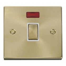 Click Deco Victorian Satin Brass 20A 1 Gang Double Pole Ingot Switch with Neon with White Insert
